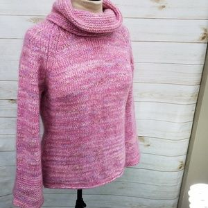 Margaret O'Leary sweater M turtleneck pink cozy